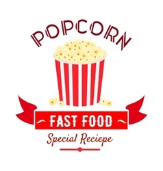 Cinema fast food snacks icon with popcorn bucket vector image vector image