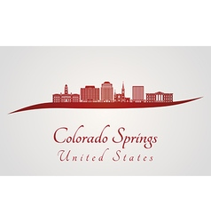 Colorado Springs V2 skyline in red vector image vector image