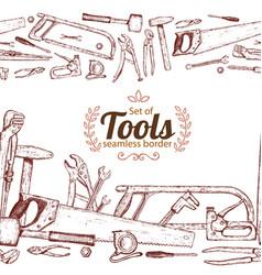 seamless horizontal borders of repair tools vector image