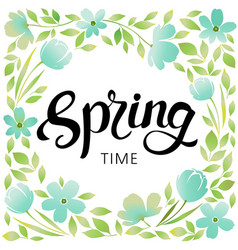 spring wreath frame vector image vector image