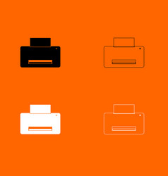 printer black and white set icon vector image
