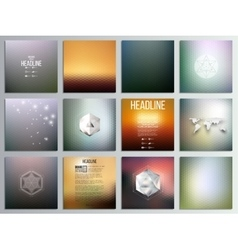 Set of 12 creative cards square brochure template vector image