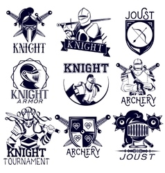 set of heraldic knight labels in vintage vector image