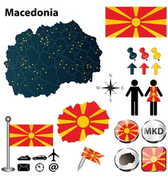 Map of Macedonia vector image vector image