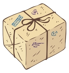 Parcel Box with Stamps vector image