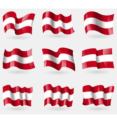 Set of Austria flags in the air vector image vector image