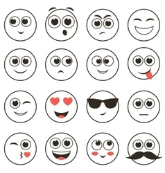 set of smiley faces isolated on white vector image vector image