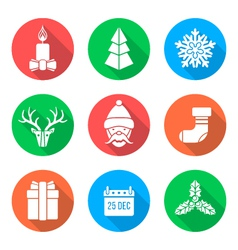 white flat christmas icons vector image