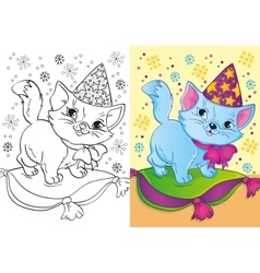 Coloring Book Of Cat In Christmas Cap vector image