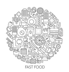 fast food icons in circle - concept line vector image vector image