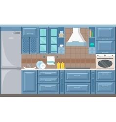 kitchen interior card flat vector image vector image
