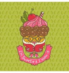 Merry Christmas Cupcake character vector image