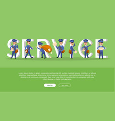 parcel conceptual web banner with cartoon postman vector image vector image