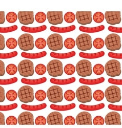 Sausage grill invitation pattern background vector