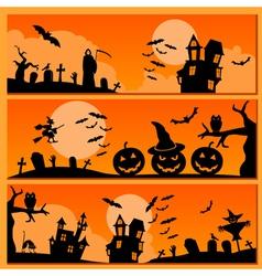 Set of halloween banner holiday design vector