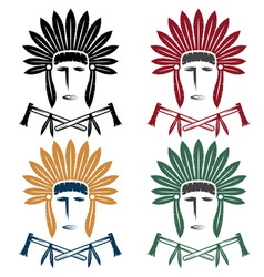 set of Native American chief man in tribal vector image