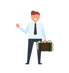 smiling businessman with money vector image
