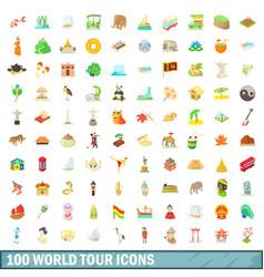 100 world tour icons set cartoon style vector image