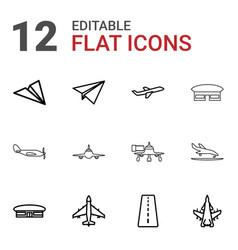 12 aircraft icons vector image