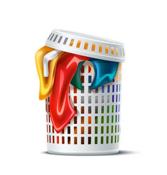 3d laundry basket full dirty apparel vector