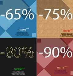 75 80 90 icon Set of percent discount on abstract vector
