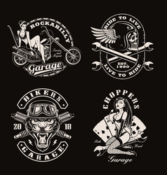 a set vintage biker vector image