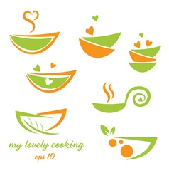 Abstract icon of eco bowl with leaf and heart vector image