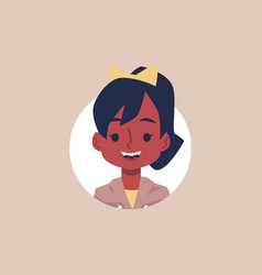 african american school girl avatar - cartoon flat vector image