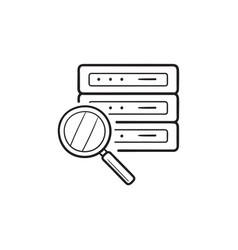 Analysing server with magnifier hand drawn outline vector