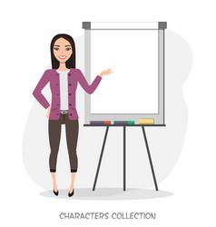 Asian women presentation on flip chart paper vector