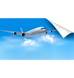 Background with airplane on blue sky Travel vector image