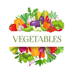 Banner round composition with colorful vegetables vector