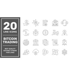 Bitcoin trading icons digital money bitcoin vector