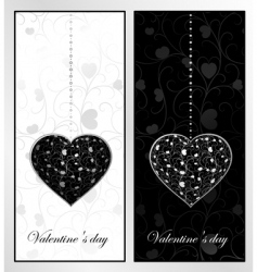 black and white valentines day vector image