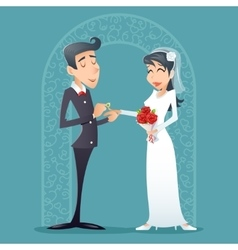 Bride and Groom Vintage Happy Smiling Male Female vector image vector image