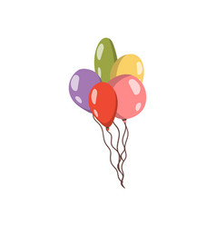 Bundle of colorful balloons cartoon vector