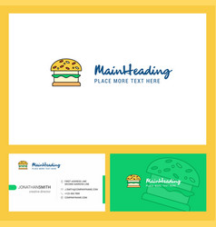 burger logo design with tagline front and back vector image