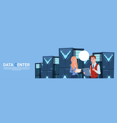 business man and woman working on digital tablet vector image