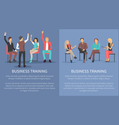 Business training set posters meeting conference vector