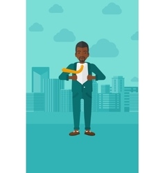 Businessman taking off jacket vector image