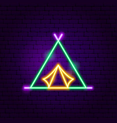 camp tent neon label vector image