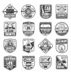 Car service engine spare parts icons vector
