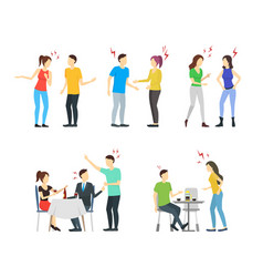 cartoon characters people different conflict set vector image