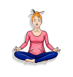 cartoon girl meditating in lotus pose vector image