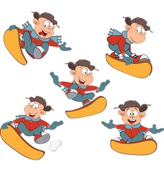 Cartoon of Cute Boys Snowboarding vector image