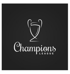champions cup logo on black background design vector image