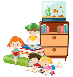 Children reading books in the room vector