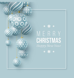 christmas blue balls holiday background vector image