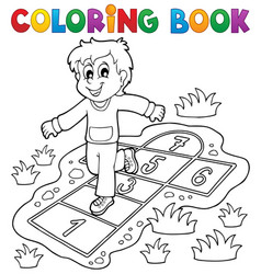 coloring book kids play theme 4 vector image