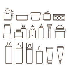 Containers of skincare means black and white set vector